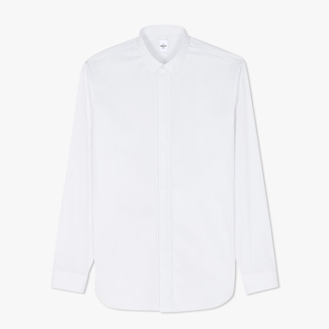 Andy Slim-Fit Long Sleeves Cotton-Poplin Shirt, BLANC OPTIQUE, hi-res