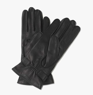 Deer Leather Gloves, BLACK, hi-res