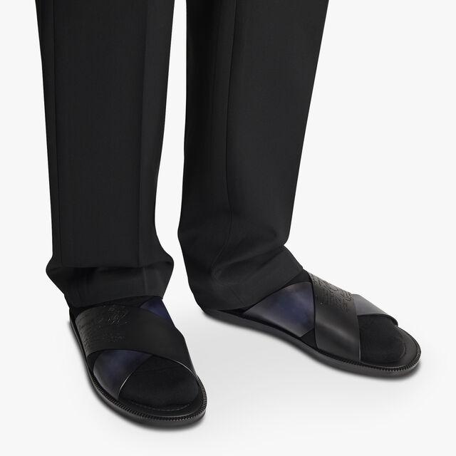Sifnos Scritto Leather Sandal, BLACK + OCEANIC WAVE, hi-res