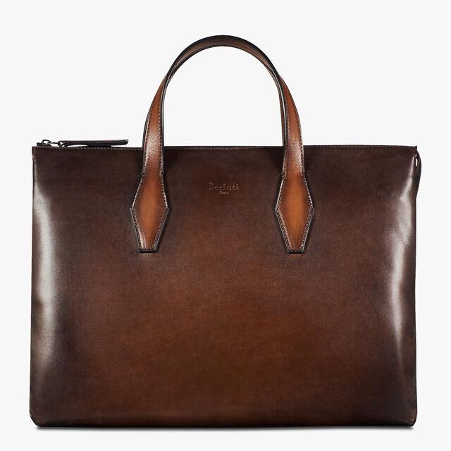 Perspective Medium Leather Briefcase, BRUN, hi-res