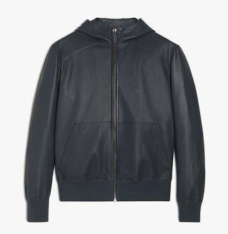 B-WAY 皮革束腰短夹克, DARK GREY, hi-res