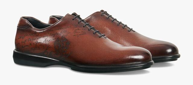 Amadeo Perugia Scritto Calf Leather Oxford, MOGANO, hi-res