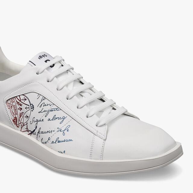 Stellar Scritto Leather Sneaker, WHITE, hi-res