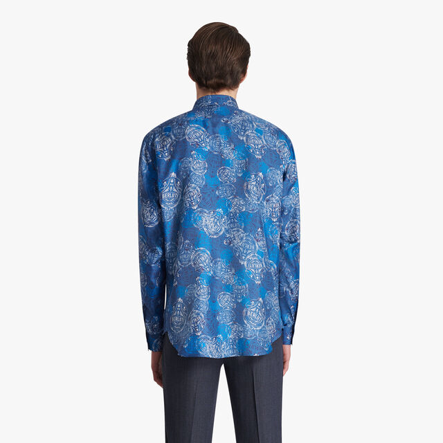 Printed Silk Shirt, DEEP SEA BLUE, hi-res