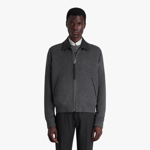 Wool & Cashmere Blouson With Leather Details, MYSTERIOUS GREY, hi-res
