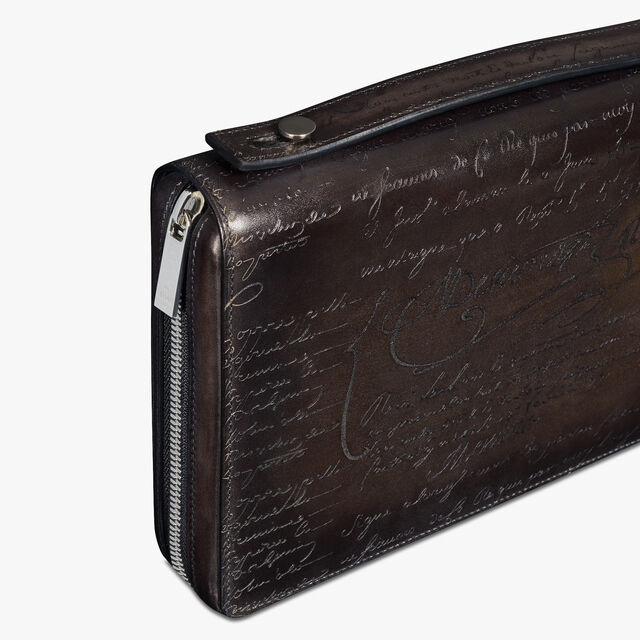 Itauba Wide Scritto Leather Long Zipped Wallet, ICE BLACK, hi-res
