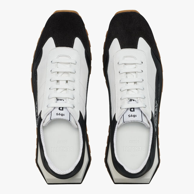 Graphic Leather, Suede and Nylon Sneaker, BLACK, hi-res