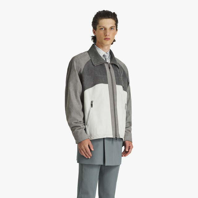 Blouson Color Block En Veau Velours, GUNMETAL GREY, hi-res