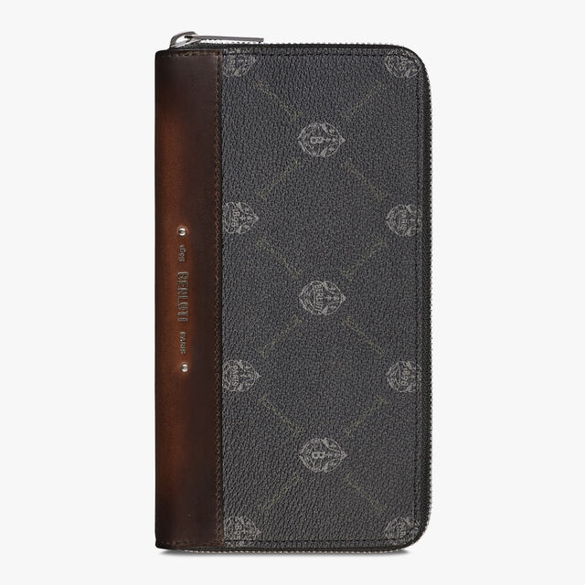 Itauba Canvas And Leather Long Zipped Wallet, BLACK + TDM INTENSO, hi-res