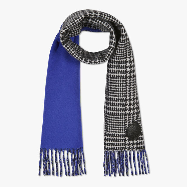 Double Face Scarf, BLACK CHECK / LAPIS BLUE, hi-res