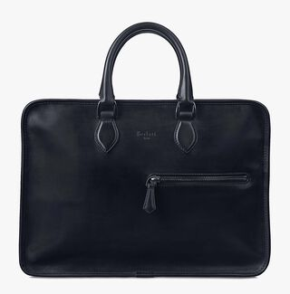 Un Jour Calf Leather Briefcase, NERO, hi-res