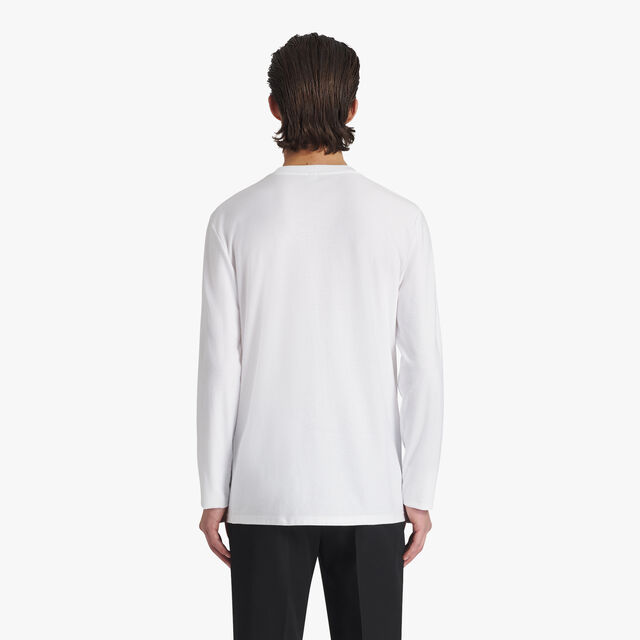Jacquard Terry Cloth Logo Cotton T-Shirt, BLANC OPTIQUE, hi-res