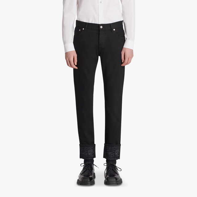 Black Denim Trousers With Scritto