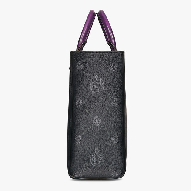 Ulysse Small Canvas And Leather Tote Bag, BLACK + SUKHNA SUNSET PURPLE, hi-res