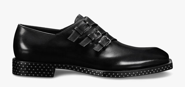 Caractère Edge Leather Monk Shoe, JET BLACK, hi-res