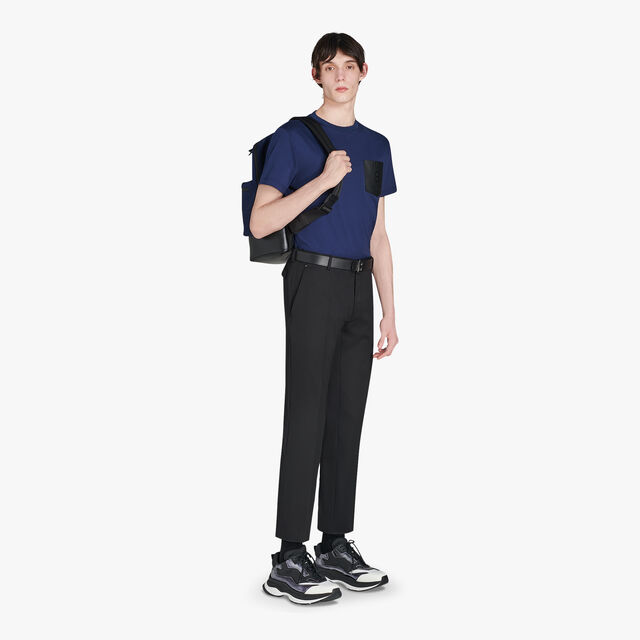 Regular-Fit Cotton T-Shirt With Leather Chest Pocket, CAOS NIGHT, hi-res