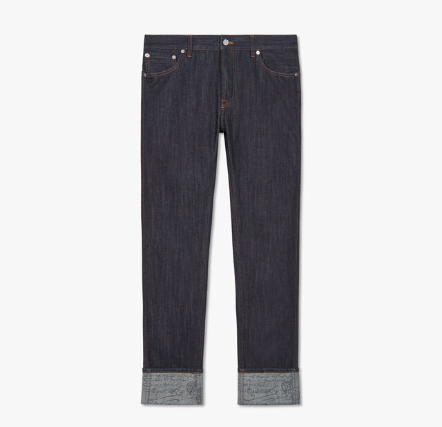 Indigo Denim Trousers With Scritto, INDIGO, hi-res