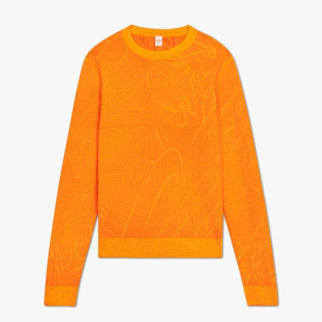 Jacquard Scritto Cashmere Sweater, ORANGE, hi-res