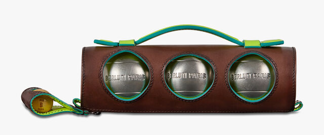 Striped Leather Petanque Set, BRUN+YELLOW, hi-res