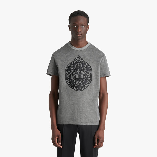 Check T-Shirt With Embroidered Nylon Crest, MYSTERIOUS GREY, hi-res