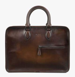 Un Jour Calf Leather Briefcase, TOBACCO BIS, hi-res