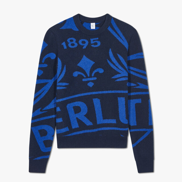 Crest Jacquard Cashmere Sweater, BLUE WINTER NIGHT, hi-res