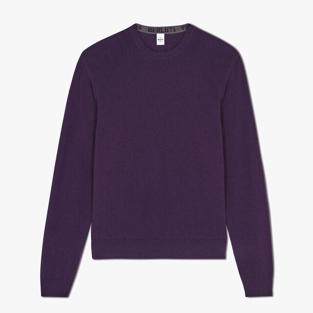 常规剪裁的绣花LOGO长袖羊绒运动衫, MAGIC PURPLE, hi-res
