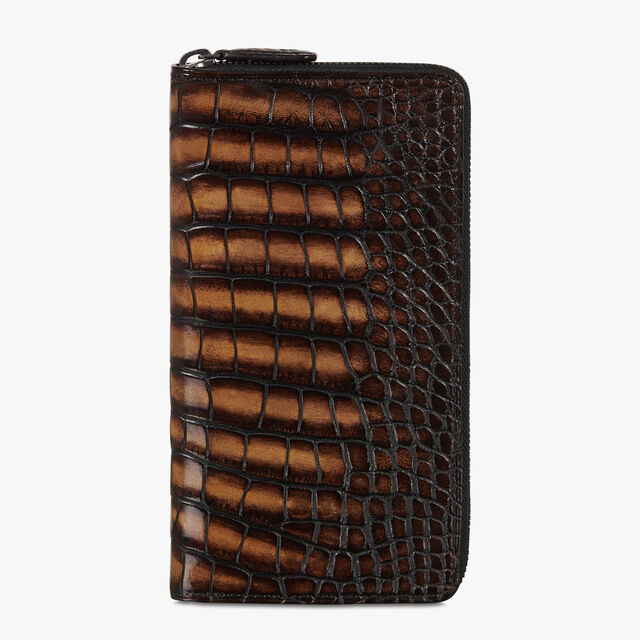 Itauba Alligator Leather Long Zipped Wallet, TOBACCO BIS, hi-res