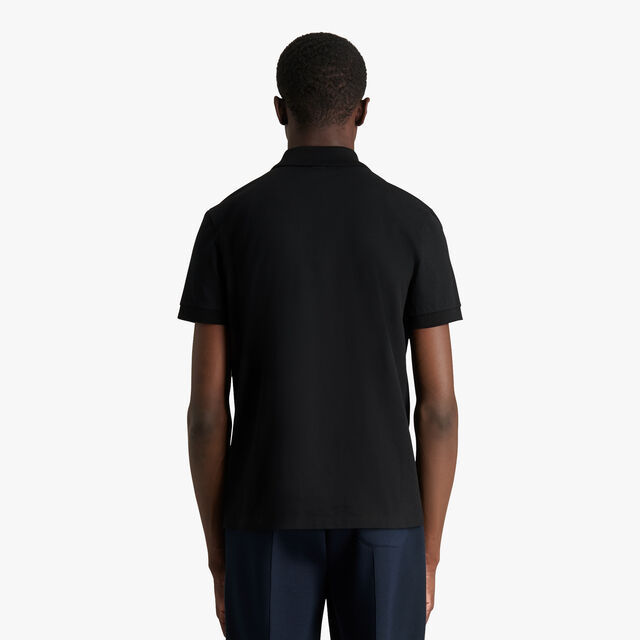 Polo Shirt With Embroidered Crest, NOIR, hi-res