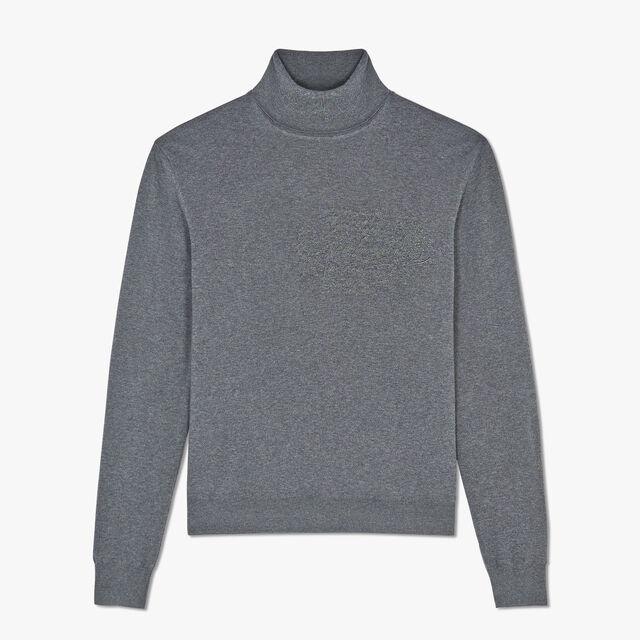 常规剪裁的Scritto 绣花圆翻领羊毛衫, LEAD, hi-res