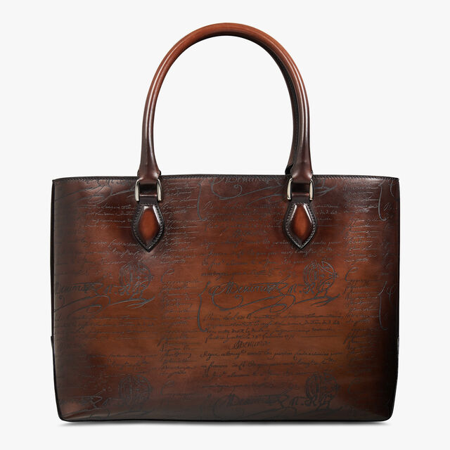 Toujours Scritto Leather Tote Bag, MOGANO, hi-res