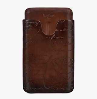 Engraved Calf Leather Four-Cigar Case, TOBACCO BIS, hi-res