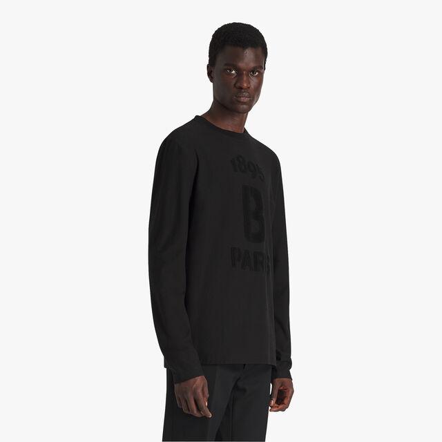 ジャカード テリークロスロゴ コットンTシャツ, NOIR, hi-res