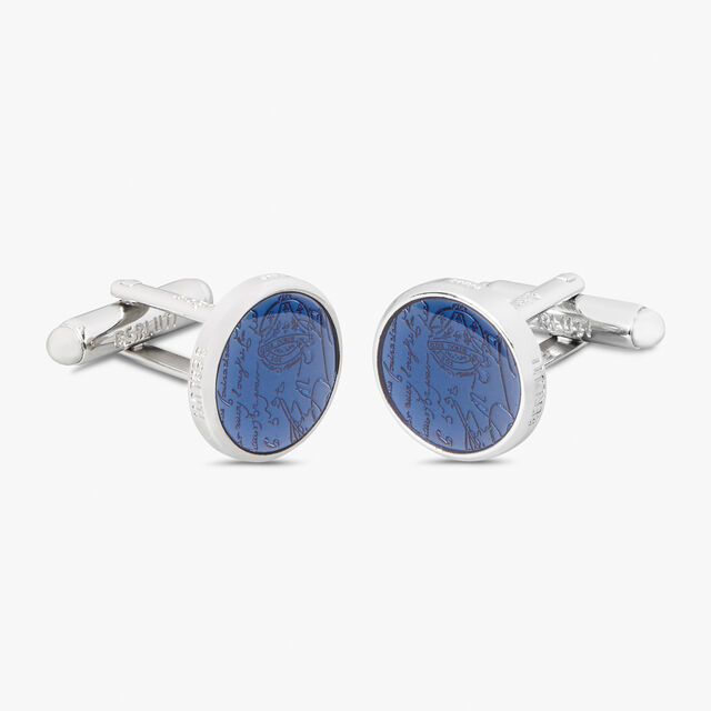 Brass And Lacquer Cufflinks  , SILVER+SOLID SMOKE, hi-res