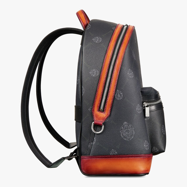 Explorer Medium Canvas And Leather Backpack, BLACK+NESPOLA ORANGE, hi-res