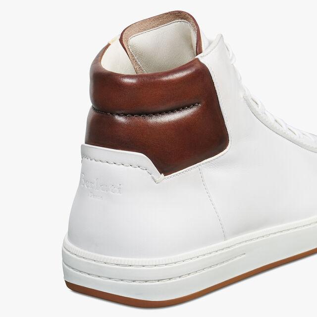 Sneaker Outline Burano En Cuir De Veau Scritto, BIANCO/MOGANO, hi-res