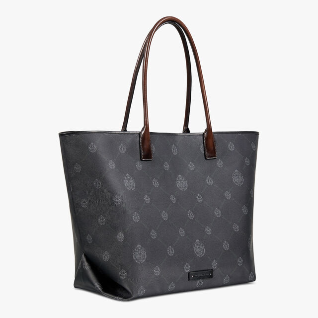 Whopping Canvas And Leather Tote Bag, BLACK + TDM INTENSO, hi-res
