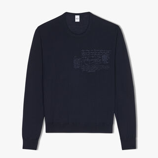 Regular-Fit Embroidered Wool Crewneck Sweater