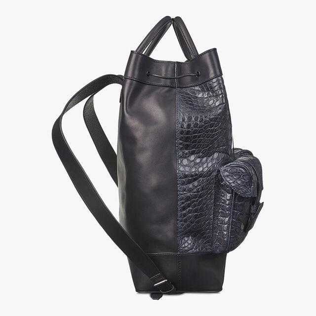 HORIZON 鳄鱼皮革双肩背包, MEDIUM FLANEL, hi-res
