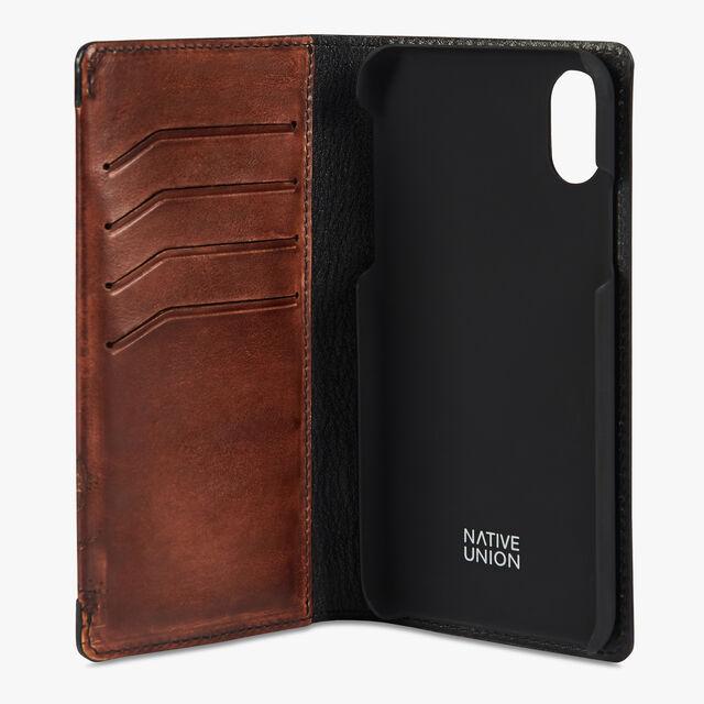Scritto Leather IPhone Xs Folio Cover, MOGANO, hi-res