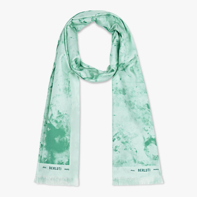 Marble Printed Silk Scarf, MINT, hi-res