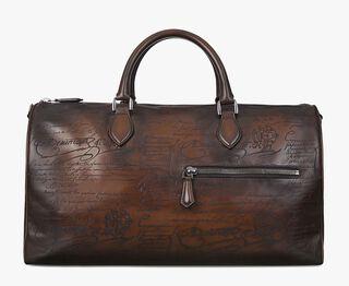 Jour-Off Engraved Calf Leather Travel Bag, TOBACCO BIS, hi-res