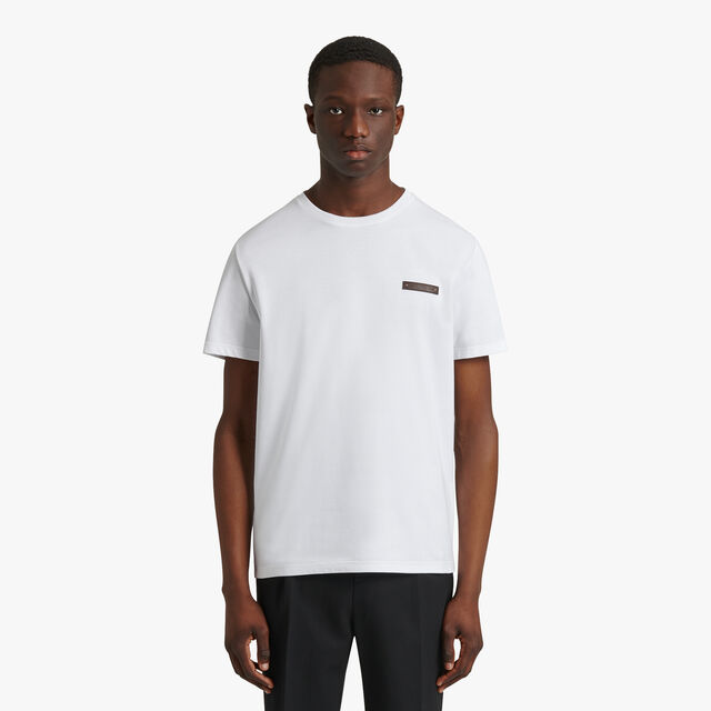 T-Shirt With Leather Detail, BLANC OPTIQUE, hi-res