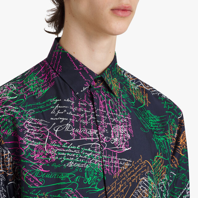 Oversize Silk Printed Shirt, SCRITTO COSMIC BLUE, hi-res