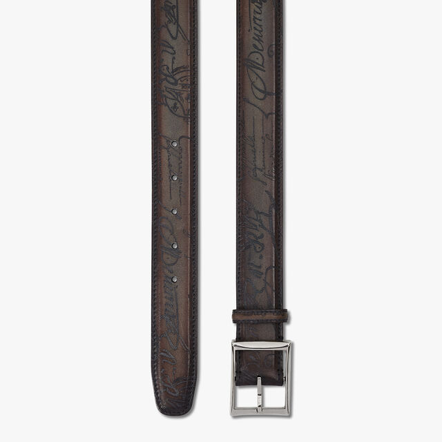 Classic Scritto Leather Belt - 35 mm, ICE BROWN, hi-res