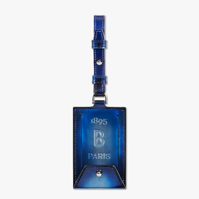 Leather Bag Tag, BLUE METAL, hi-res
