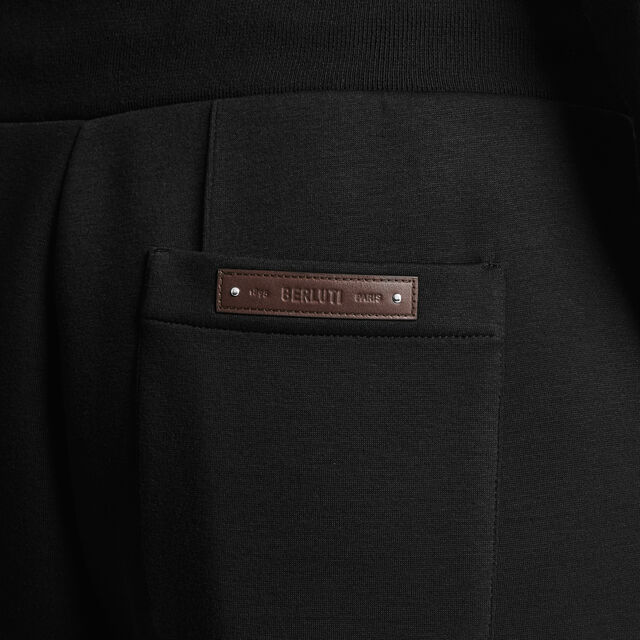 Jogging Trousers With Leather Details, NOIR / ALPINE GREEN, hi-res