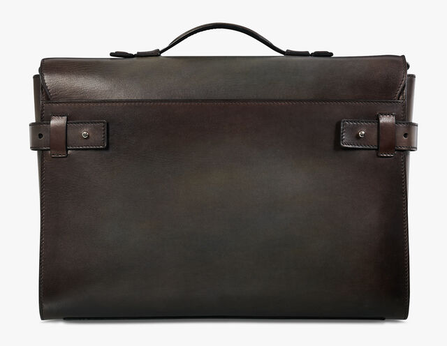 Prisme Large Leather Briefcase, ICE BROWN, hi-res