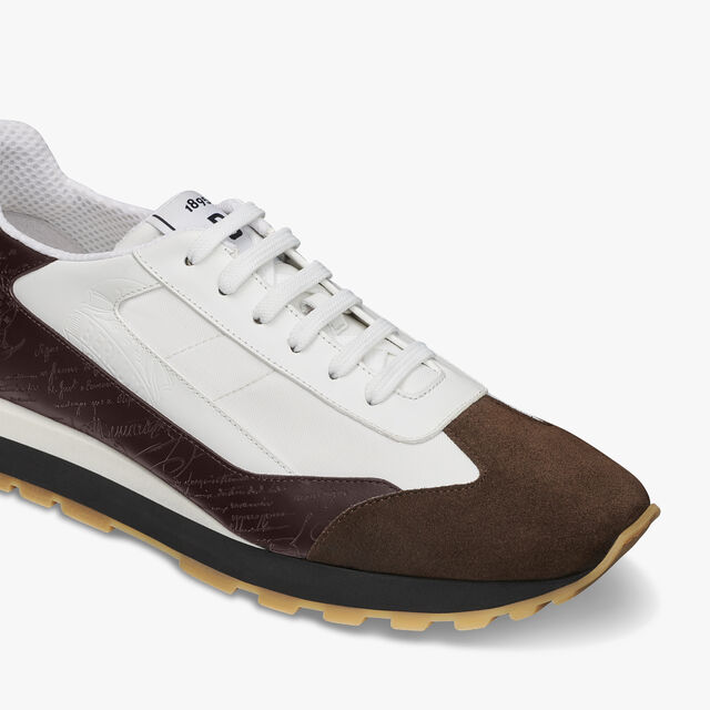 Graphic Leather and Nylon Sneaker, BROWN, hi-res