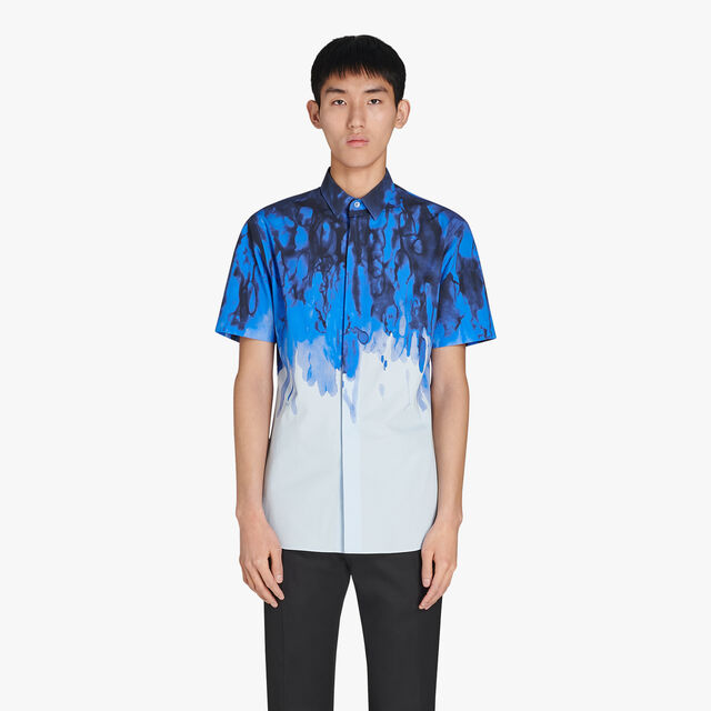 Andy Slim-Fit Short Sleeves Printed Cotton Shirt, CAOS NIGHT, hi-res